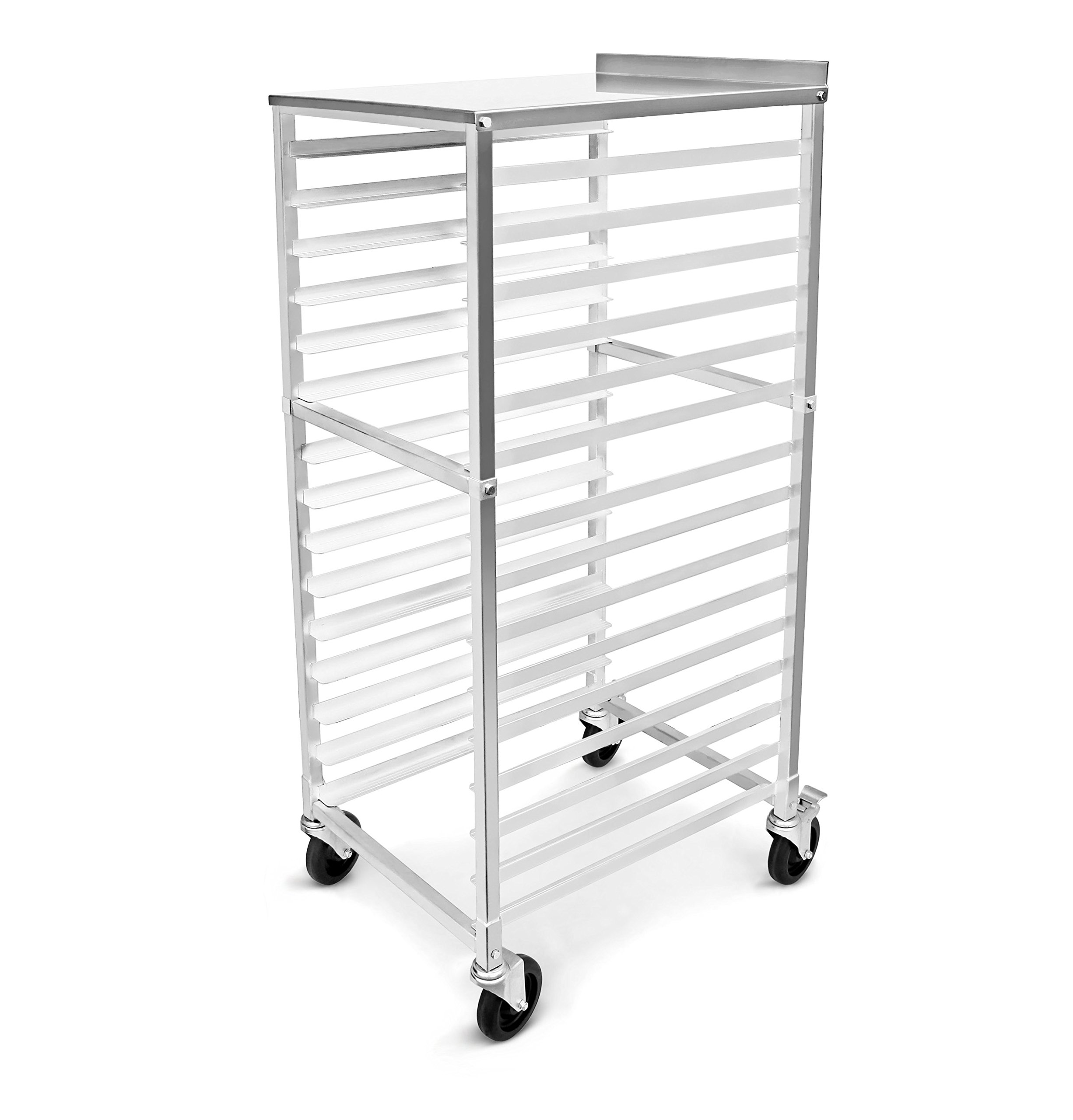 New Star Foodservice 42962 Commercial Sheet Pan Rack, Aluminum, Backsplash Top, 15-Tier, 26 x 20 x 55 inch