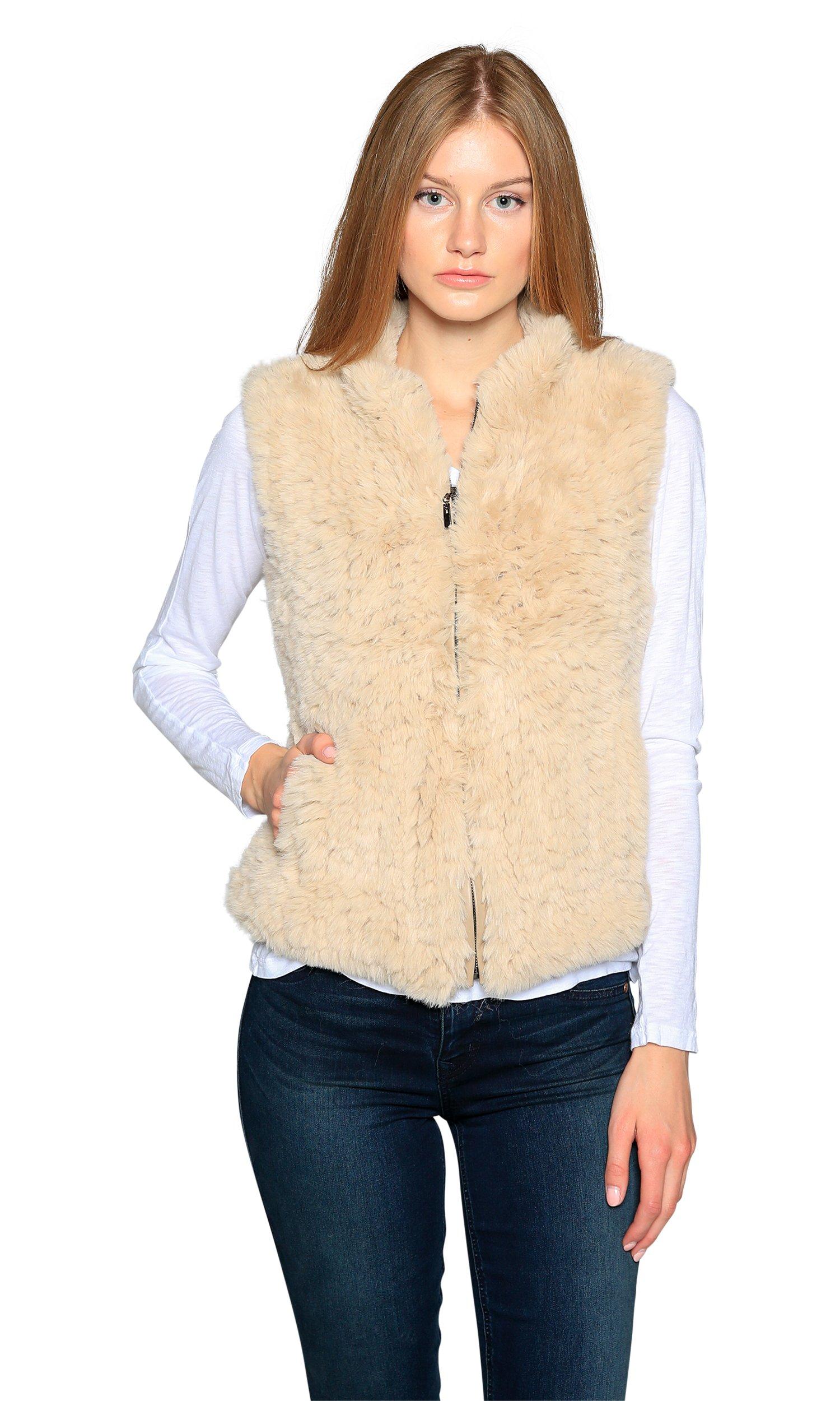 Love Token Ruby Zip Up Faux Fur Vest, Beige, M