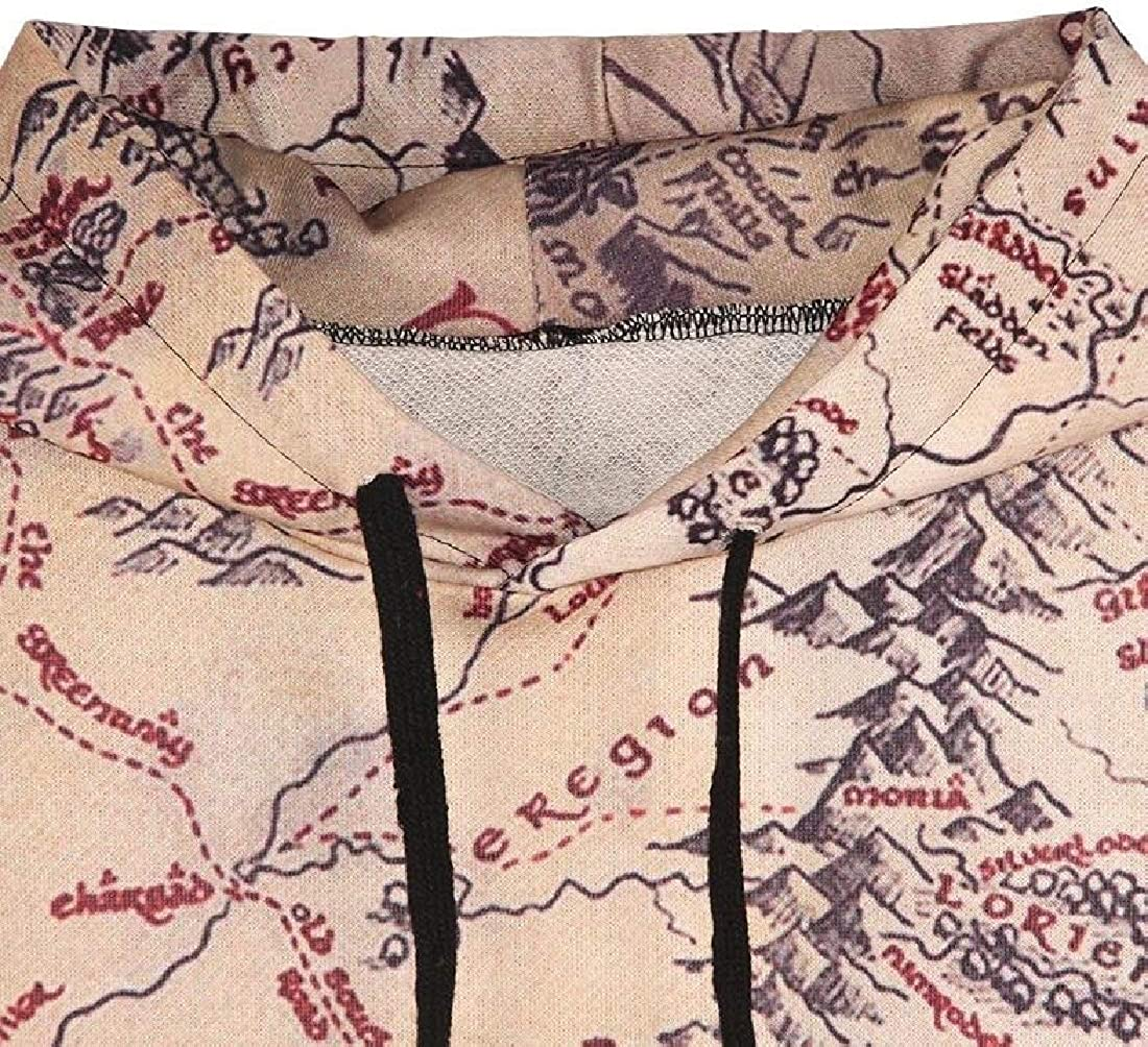 M/&S/&W Womens Long Sleeve Map Printing Cotton Pullover Sweashirt Casual Outerwear Tops