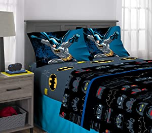 Warner Bros Batman Kids Bedding Super Soft Microfiber Sheet Set, 4 Piece Full Size, Multi-Color