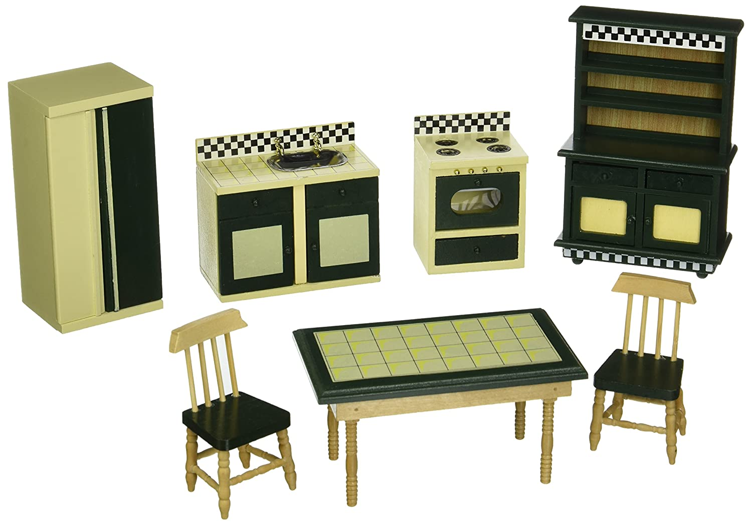 Miniature Dollhouse Kitchen Furniture Amazoncom Melissa Doug Doll House Kitchen Furniture Set Of 7