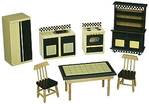 Melissa & Doug Doll-House Kitchen Furniture (Set of 7), Buttery Yellow/Deep Green