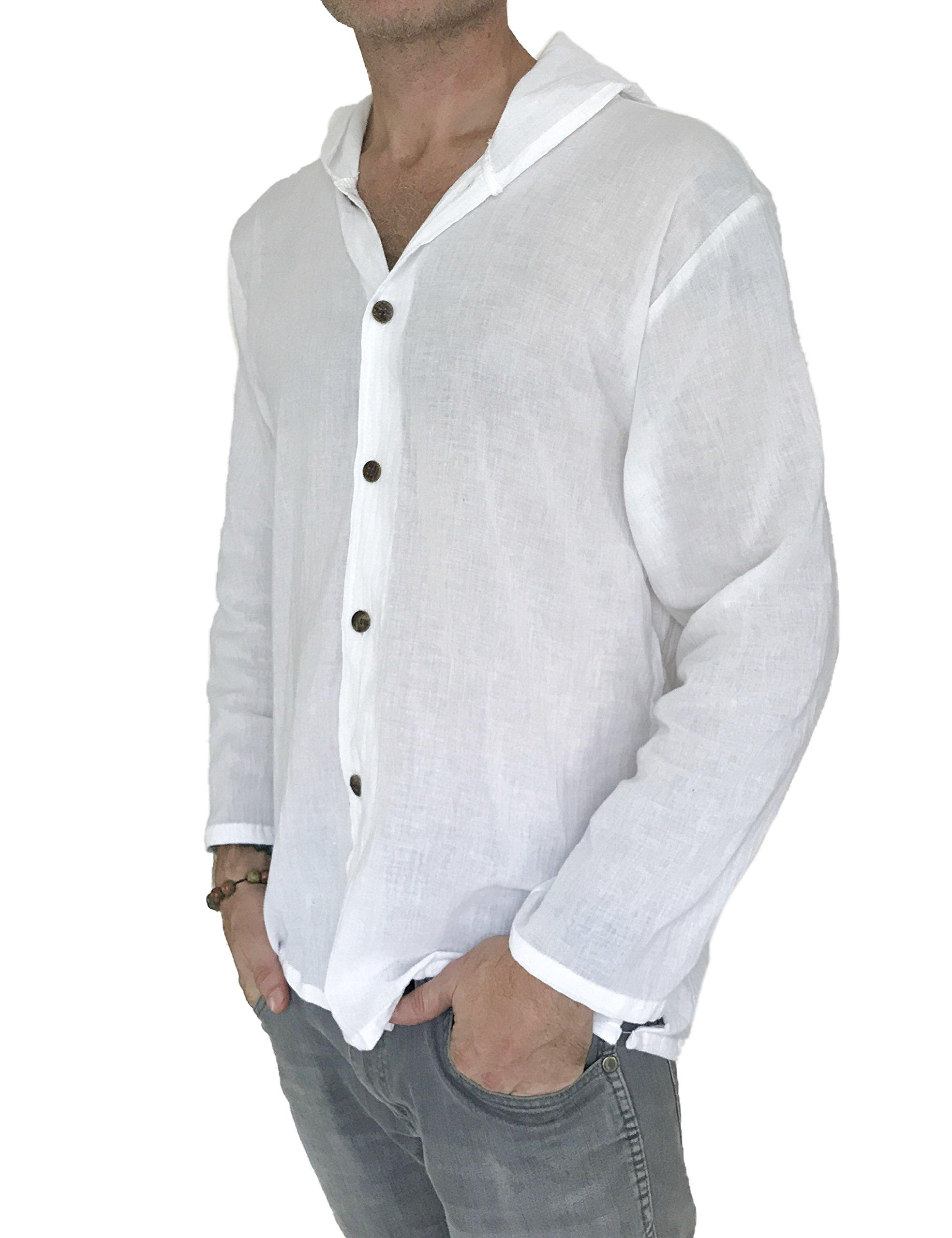 Love Quality Men's Hoodie Button Down Hippie Shirts Beach 100% Soft Cotton Top Yoga Shirt (X-Large, White)