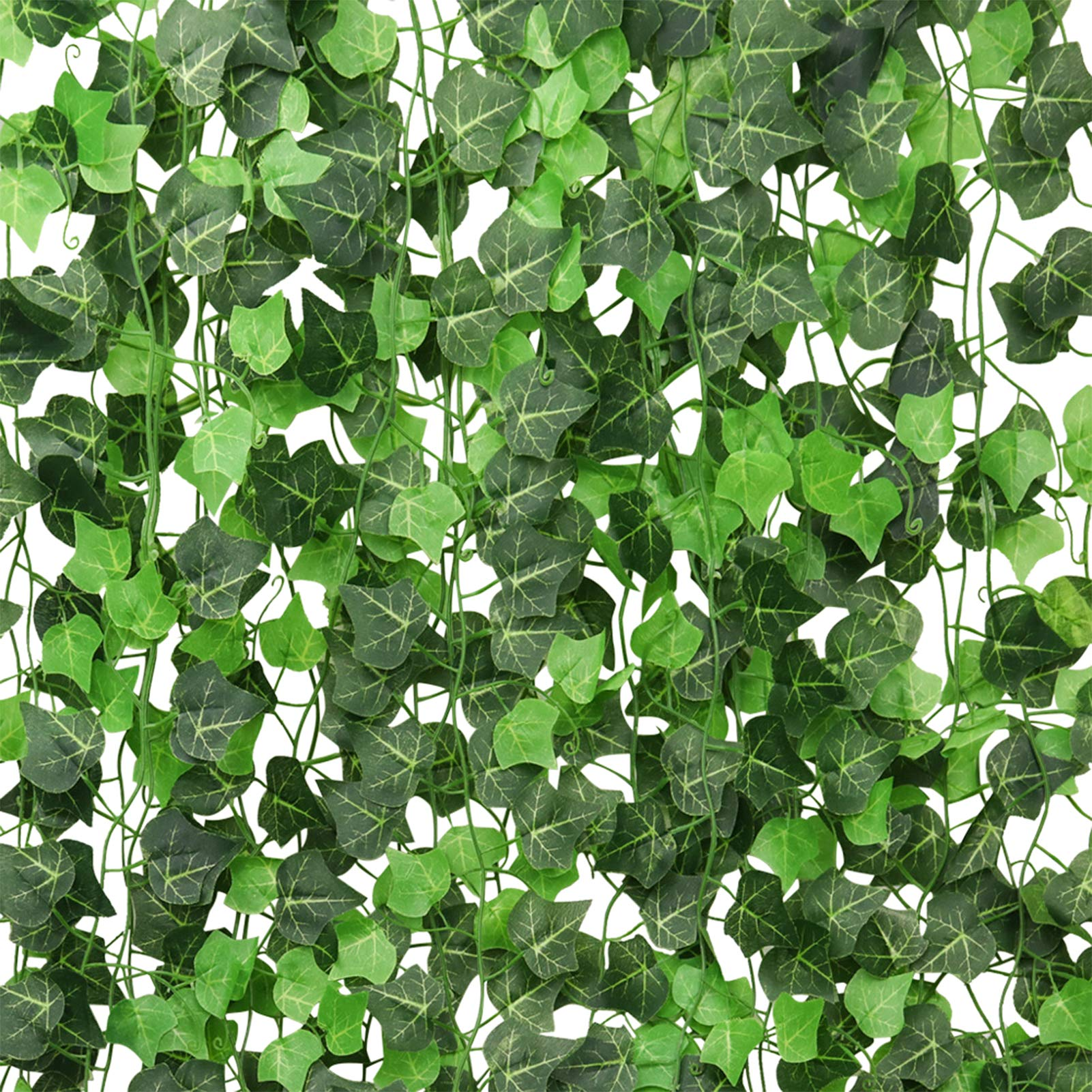 ElaDeco 94 ft 12 Pack Artificial Ivy Garland Vine,Plastic Ivy Vines Fake Ivy Garland for Wedding Party Decoration Garden Wall Greenery Decoration