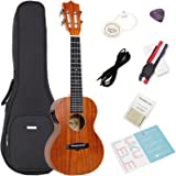 Acoustic Electric Tenor Ukulele with Bag,Strap, Extra Aquila Strings,Polishing Cloth,2 Pins Installed,Instructional Book,By HANKEY KUT-70 EQ