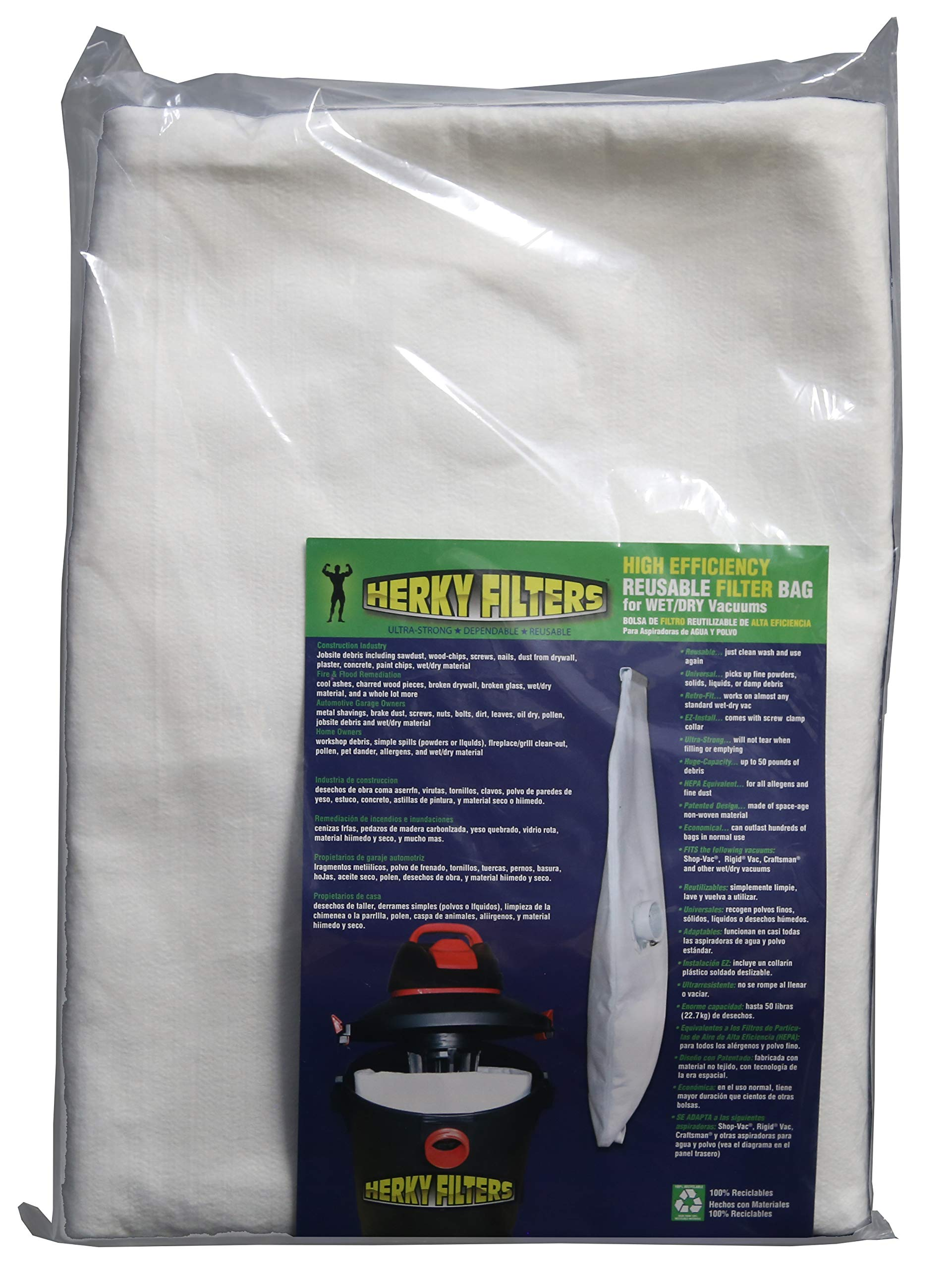 Large Reusable Filter Bag for Wet/dry Vacuums by Herky Filters