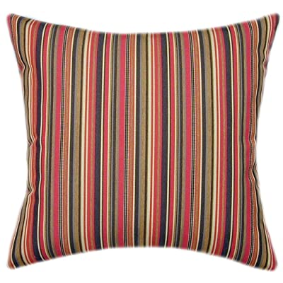 TPO Design Sunbrella Dorsett Cherry Indoor/Outdoor Striped Pillow 18x18: Home & Kitchen