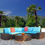 Polar Aurora 6pcs Patio Furniture Set PE Brown Rattan Wicker Sectional Outdoor Sofa Set Outside Couch w/Washable Seat Cushion