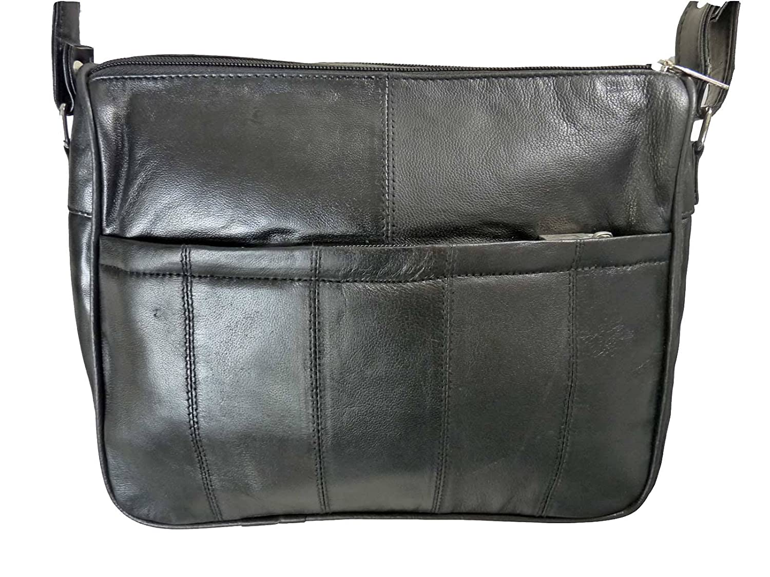 f16bf2076931 Leather Handbag in Soft Black Leather - Ladies Shoulder Bag can be worn  Cross Body - 4 Zipped Compartments - Single Adjustable Shoulder Strap -  Small Medium ...
