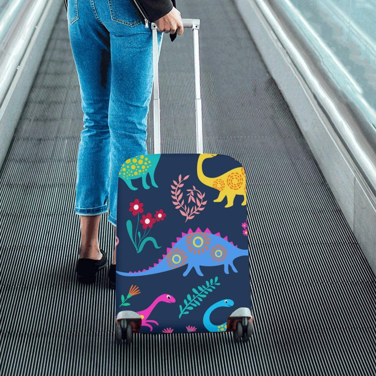 InterestPrint Luggage Cover Dinosaurs Traveling Luggage Cover Polyester Suitcase 20x24 Inch Unisex