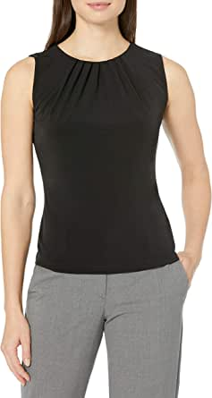 Calvin Klein Women's Solid Pleat Neck Sleeveless Cami
