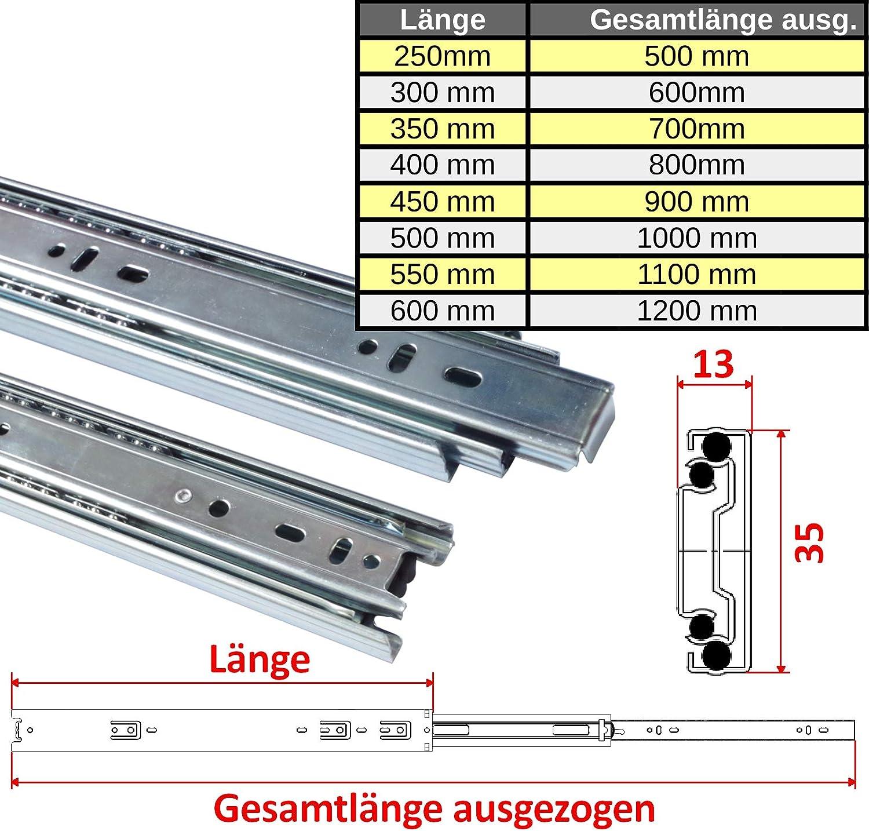 1 Paar 1 Paar 17 mm Teleskopschienen Schubladenschienen Schubladenauszug Teilauszug L/änge: 214 mm