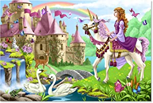 "Melissa & Doug Fairy Tale Castle Floor Puzzle (Easy-Clean Surface, Promotes Hand-Eye Coordination, 48 Pieces, 24"" L x 36"" W)"