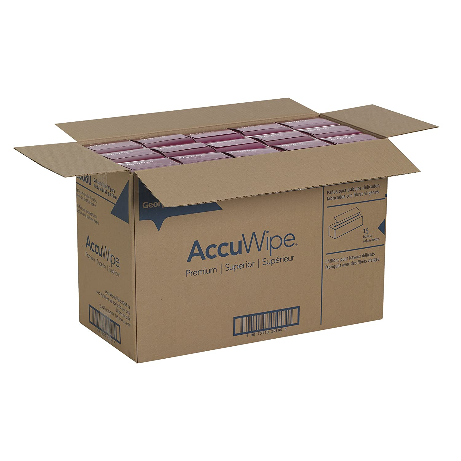 Amazon.com: Georgia-Pacific AccuWipe 29880 White Virgin Fiber Premium 2-Ply Delicate Task Wipers, 15
