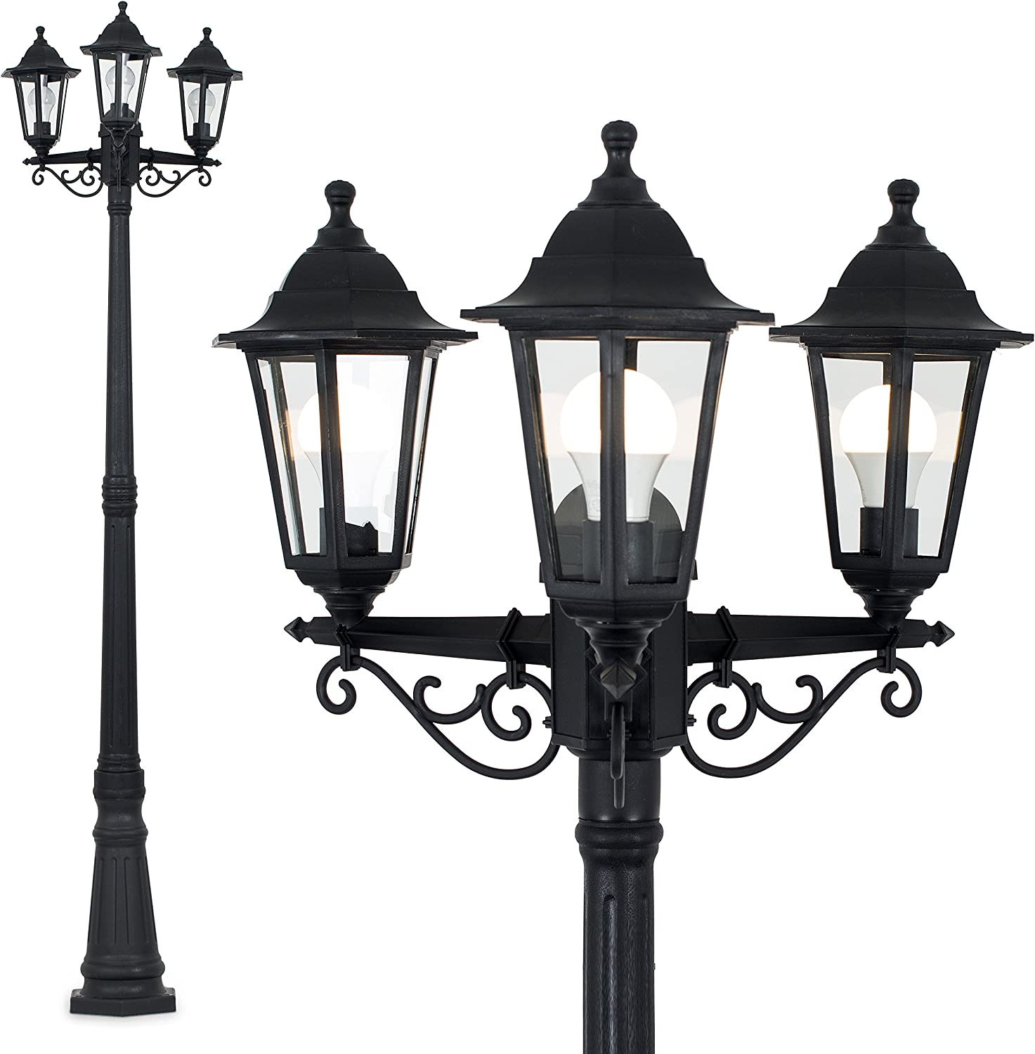 SOLAR POWERED LED VICTORIAN DOUBLE LANTERN GARDEN LAMP POST 1.8M BLACK