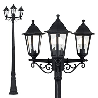 Traditional Victorian Style 1 95m Black 3 Way Ip44 Outdoor Garden Lamp Post Light