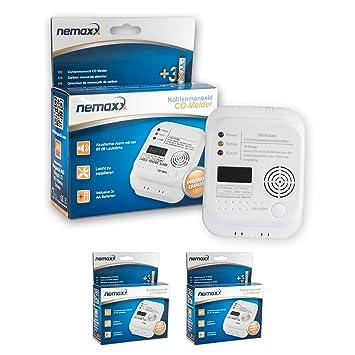 2X Nemaxx Detector de CO Monoxido de Carbono Detector de Gas Alarma de Gas Detector de Humo según la Norma DIN EN50291: Amazon.es: Bricolaje y herramientas