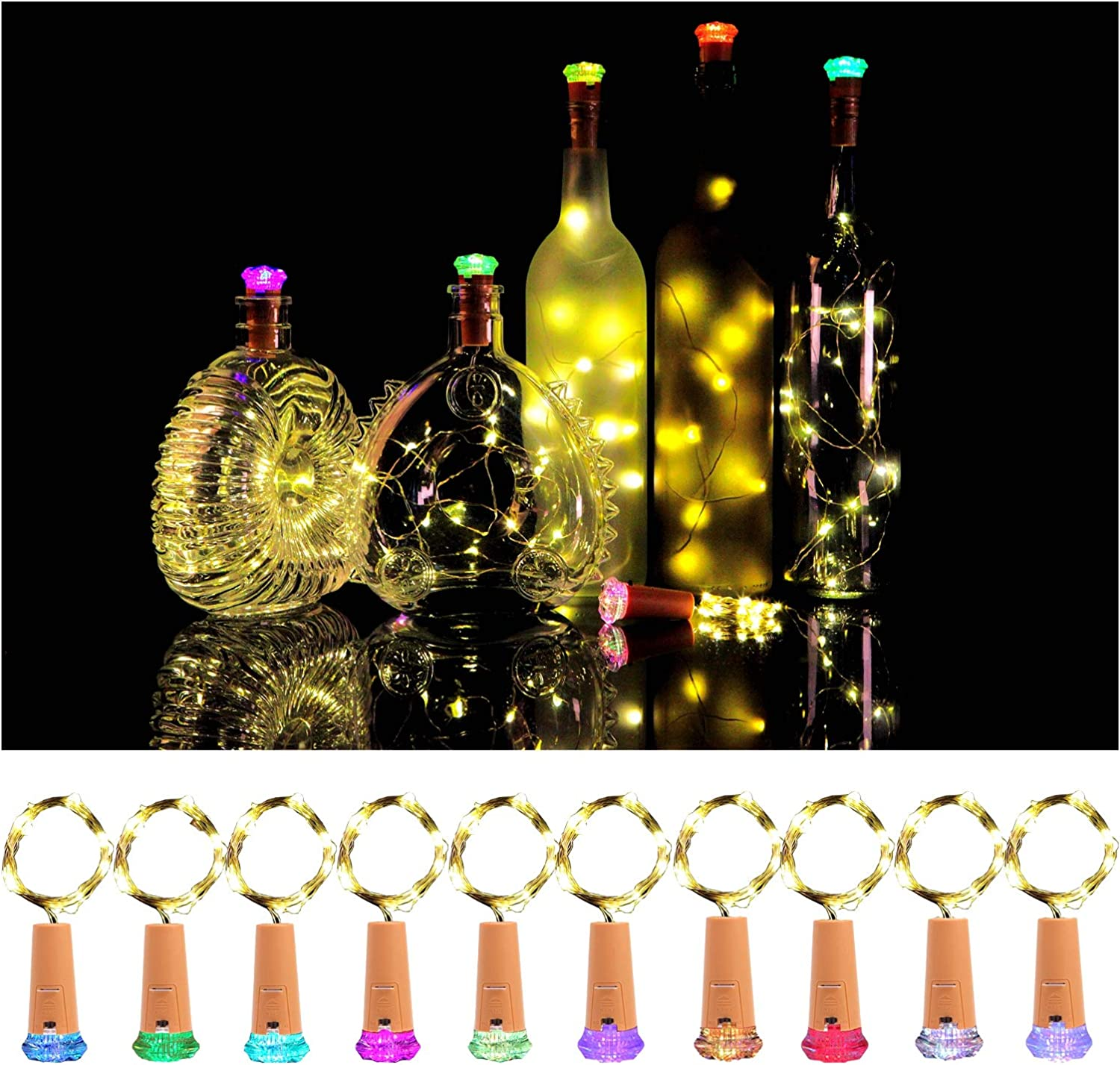 KZOBYD Wine Bottle Lights with Cork 10 Pack Fairy Battery Operated Mini Lights Diamond Shaped LED Cork Lights for Wine Bottles DIY Party Decor Christmas Halloween Wedding Festival(Warm White)