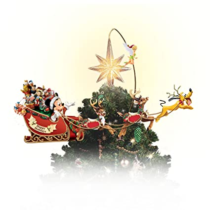 Disney Christmas Tree Topper Uk.Illuminated And Hand Painted Rotating Disney Christmas Tree Topper Featuring Mickey And His Sleigh By The Bradford Exchange