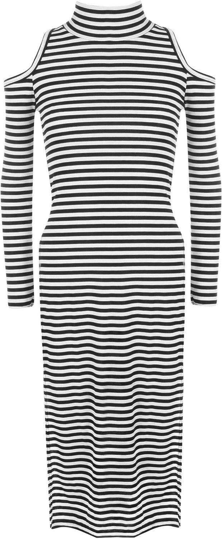 WearAll Women's Turtleneck Sleeveless Shoulder Long Sleeve Side Slit Midi Dress