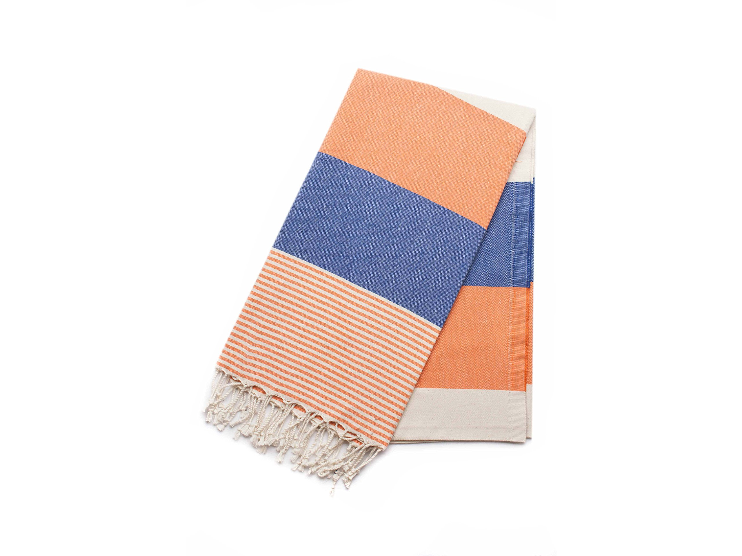 Ahenque 100% Cotton Turkish Towel/Beach Towel/Bath Towel, 37″ x 73″(95 cm x 185 cm), Orange&Blue - Ahenque towels are made of natural cotton and handwoven on looms with traditional methods which makes it sturdy for longer uses Natural, eco-friendly Peshtemal/Turkish Towel dries quickly and absorbs much water compare to classic towels. Gets softer in each wash. Colours: Blue&Orange&Cream, Peshtamel/Towel Size: 37″ x 73″ ~ 95 cm x 185 cm - bathroom-linens, bathroom, bath-towels - 81jGV1ZohHL -