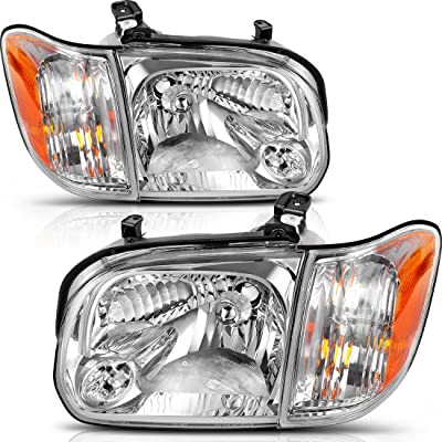 AUTOSAVER88 Headlight Assembly Compatible with 2005-2006 Toyota Tundra Double/Crew Cab, 2005-2007 Sequoia, Chrome Housing Clear Lens (Not suitable for Regular Cab and Assess Cab): Automotive