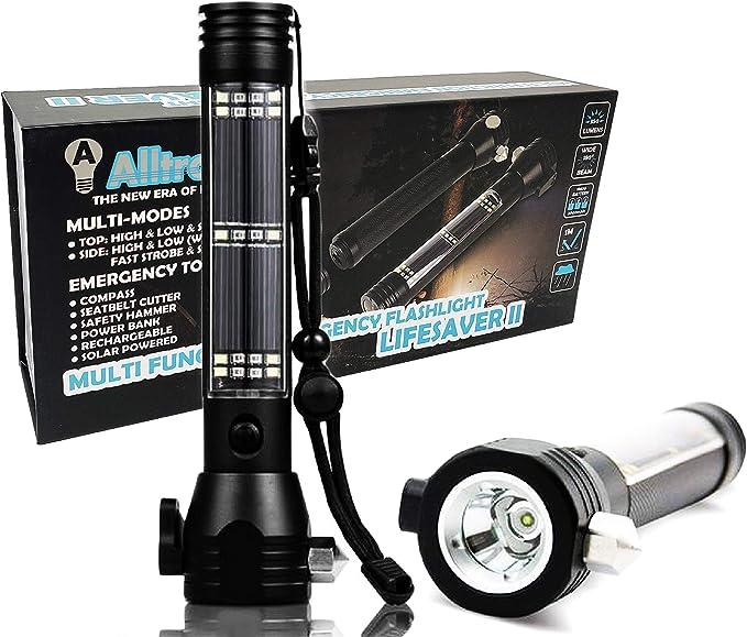 Linterna de emergencia para coche – linterna LED multifuncional con herramienta de emergencia para coche, martillo de atención, cuchillo de corte, brújula, etc.: Amazon.es: Iluminación