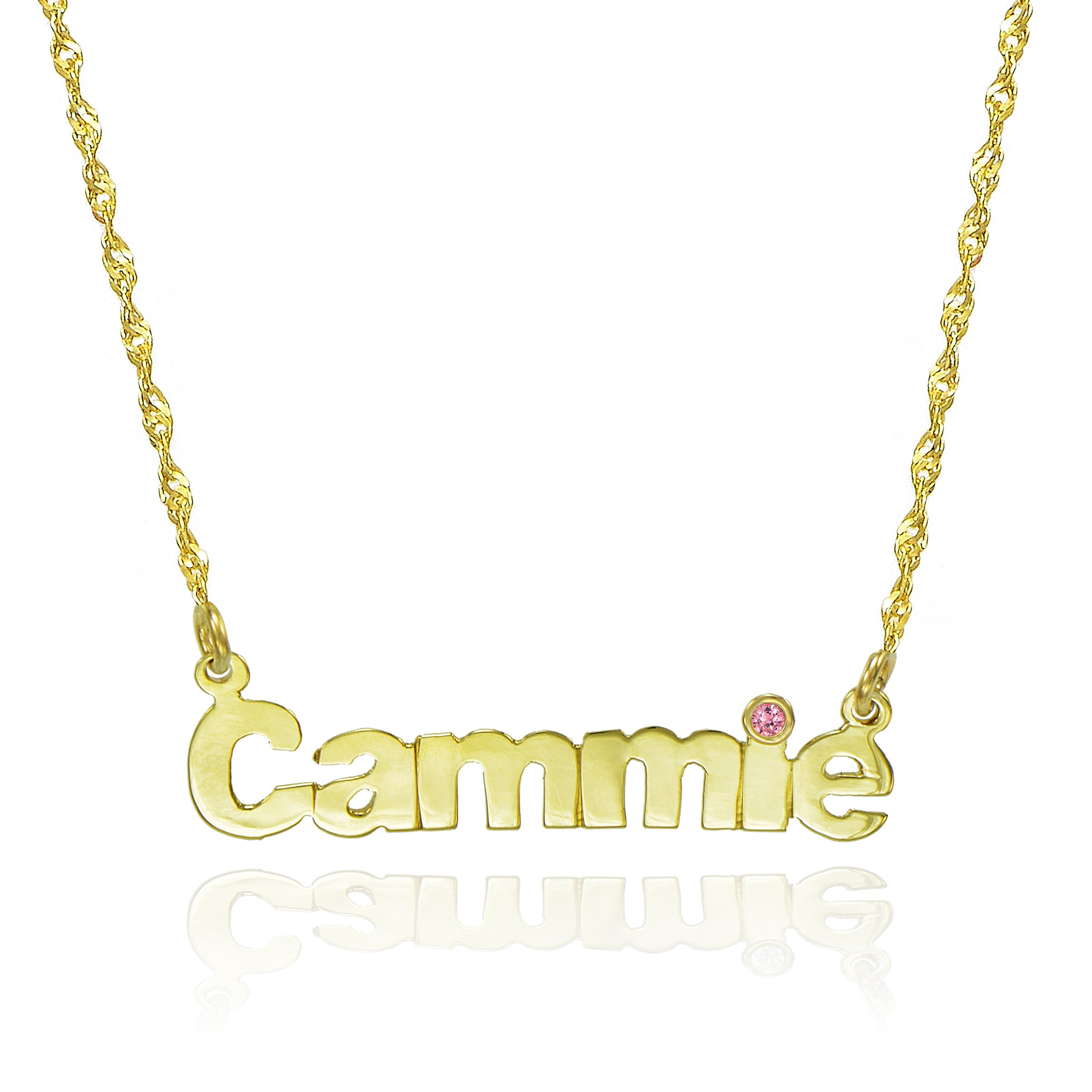 14K Yellow Gold Personalized Nameplate Necklace with CZ (20-inch, October)