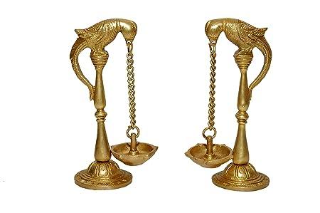 Nexplora Industries Pair of Parrot Design Oil Lamp Diya Bird Diya Oil Lamp Stand Holder Brass Hindu Religious Puja Art Fengshui Gifts