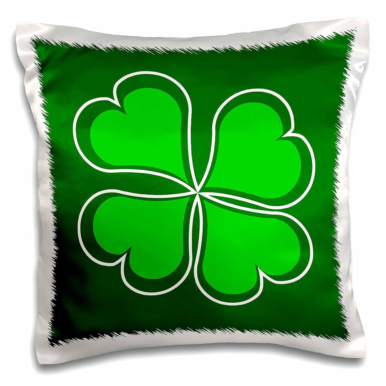 3dRose Lucky Green Shamrock Pillow Case pc/_77561/_1 16 by 16-inch