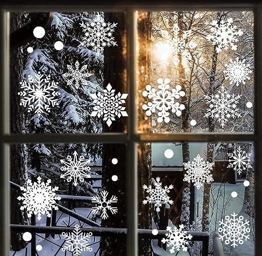 48Pcs Christmas Snowflake Clings Decal Window Wall Stickers Vinyl Art Xmas Decor