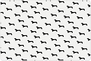 Ambesonne Dog Lover Pet Mat for Food and Water, Monochrome Dachshund Silhouettes Breed Dog Domestic Canine Pattern Active Pet, Non-Slip Rubber Mat for Dogs and Cats, 18