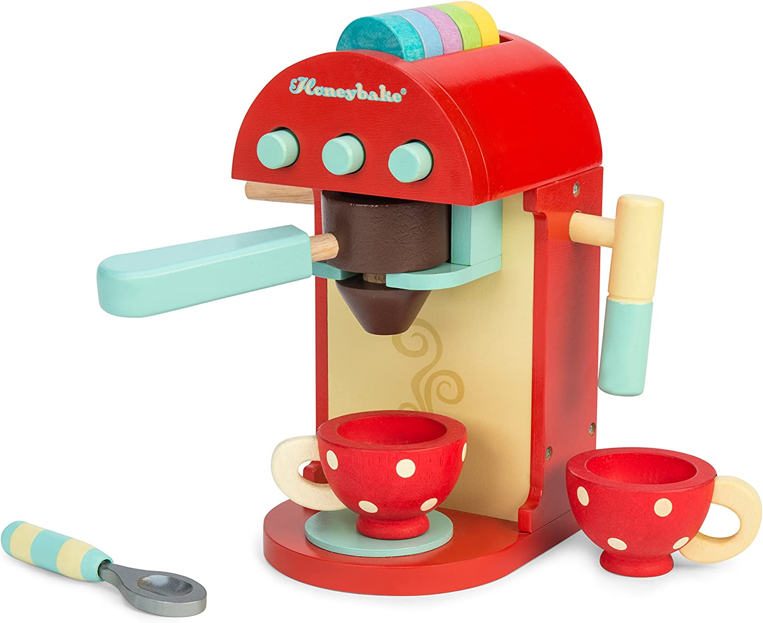 Le Toy Van Honeybake Collection-Cafe Machine Premium Wooden Toys for Kids Ages 3 Years & Up