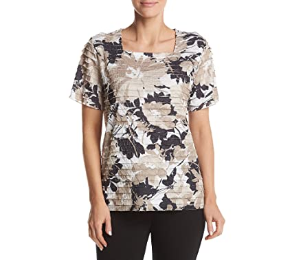 c26003e61dcae Alfred Dunner Neutral Floral Tiered Blouse Small at Amazon Women s Clothing  store