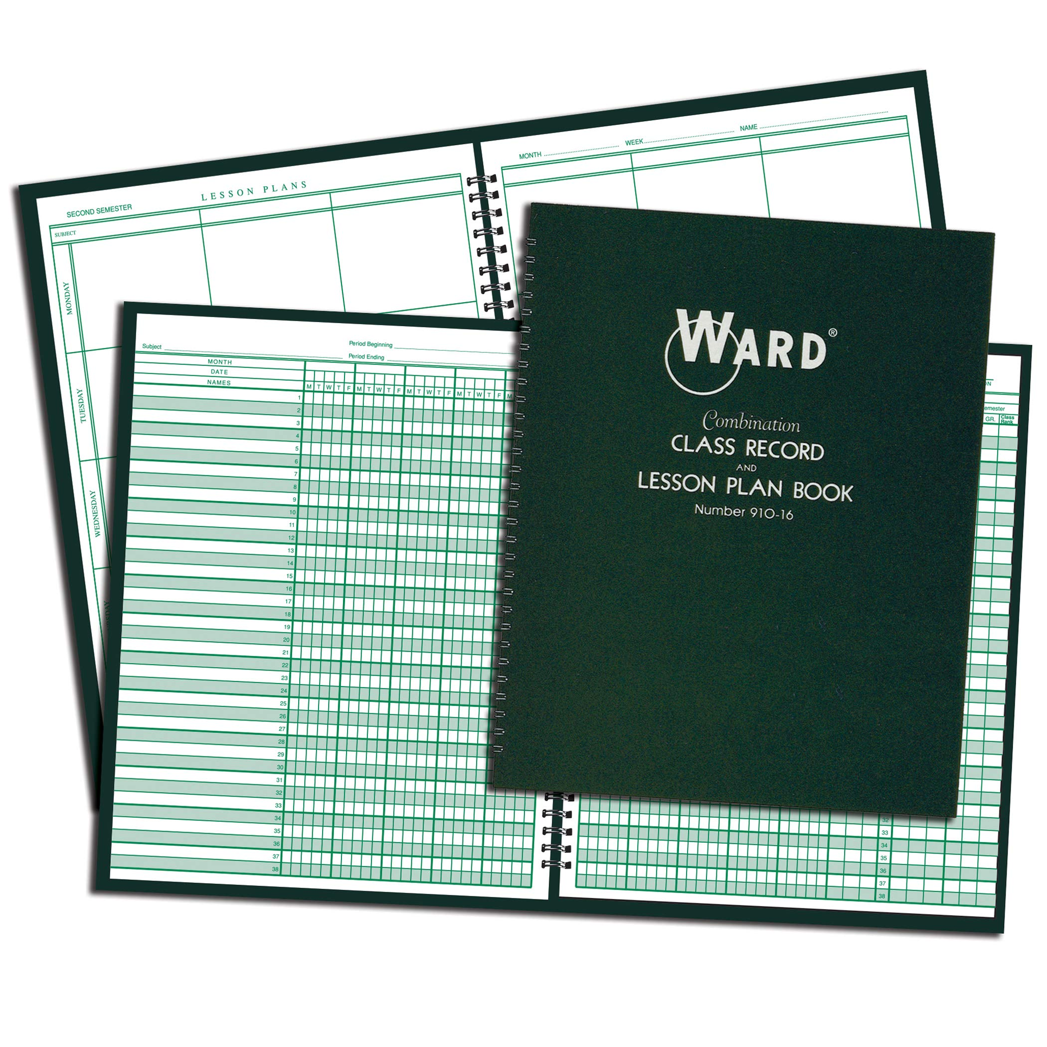 Ward WAR91016BN Combination Record & Lesson Plan Book, 9-10 Week, 6 Periods/Day, Pack of 3