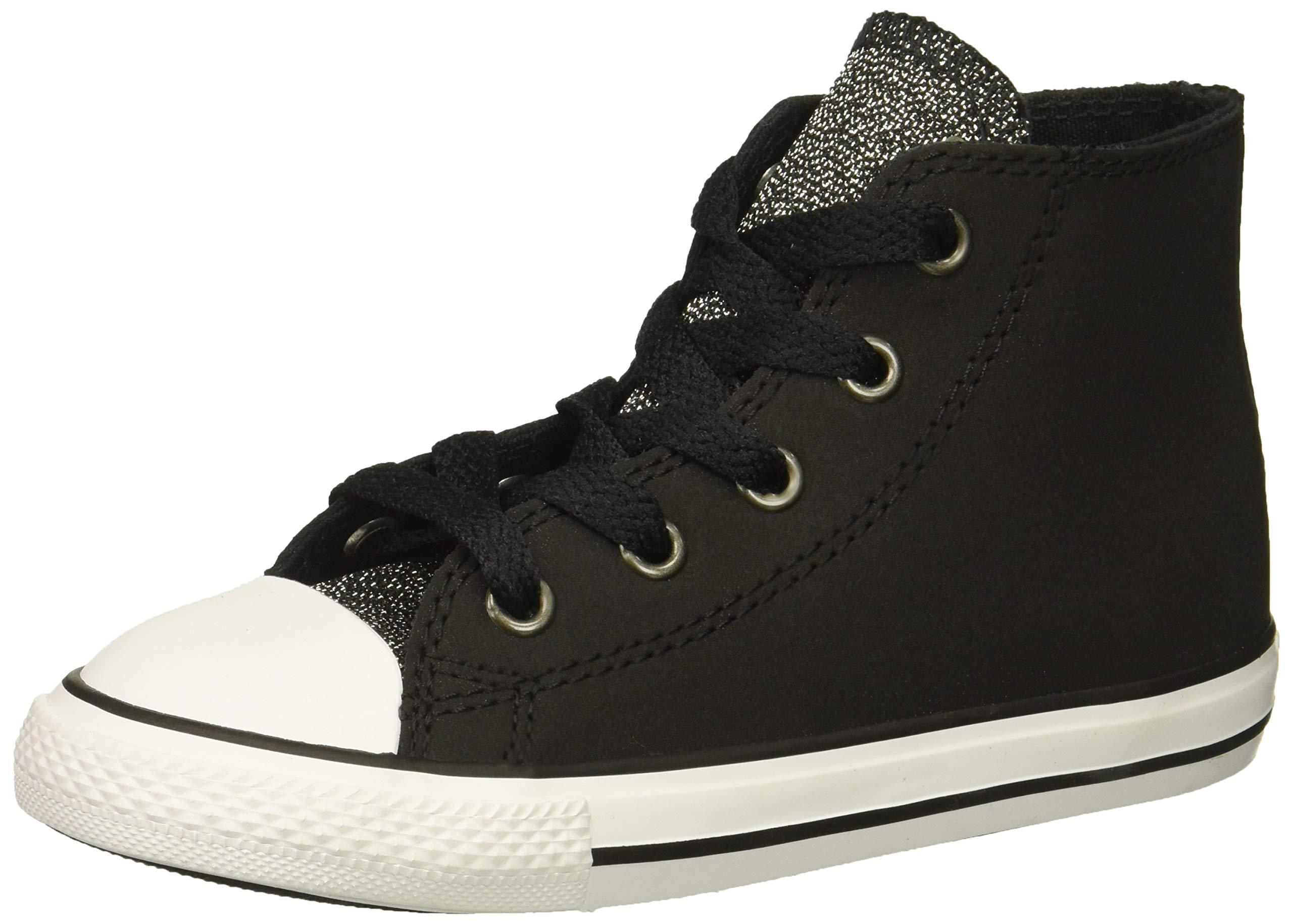Converse Girls' Chuck Taylor All Star Glitter High Top Sneaker, BlackWhite, 7 M US Toddler