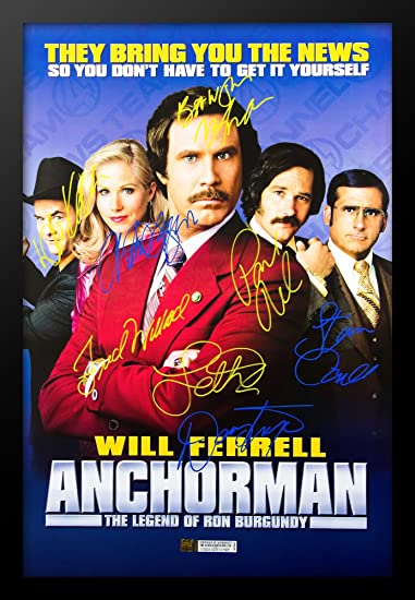 Amazoncom Anchorman Cast Signed Movie Poster In Wood