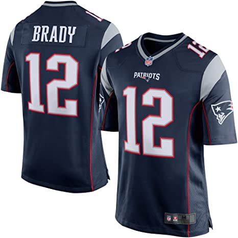 save off 2ae24 7bebb Outerstuff Men's New England Patriots Tom Brady Navy Blue/Silver Game  Jersey #12
