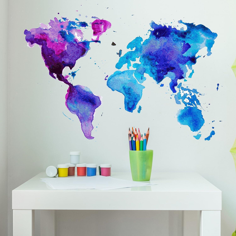 Watercolour Worldmap Wall Sticker Nursery Decals Kids Home Decor Art Mural Gift