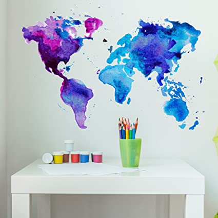 Watercolor World Map Wall Decal By Style Apply