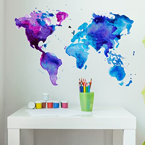 Amazoncom Watercolor World Map Wall Decal By Style Apply - Map wall mural decal