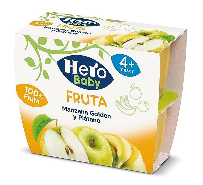 Hero Baby Tarrina de Fruta Manzana Plátano - 4 Unidades x 100 gr