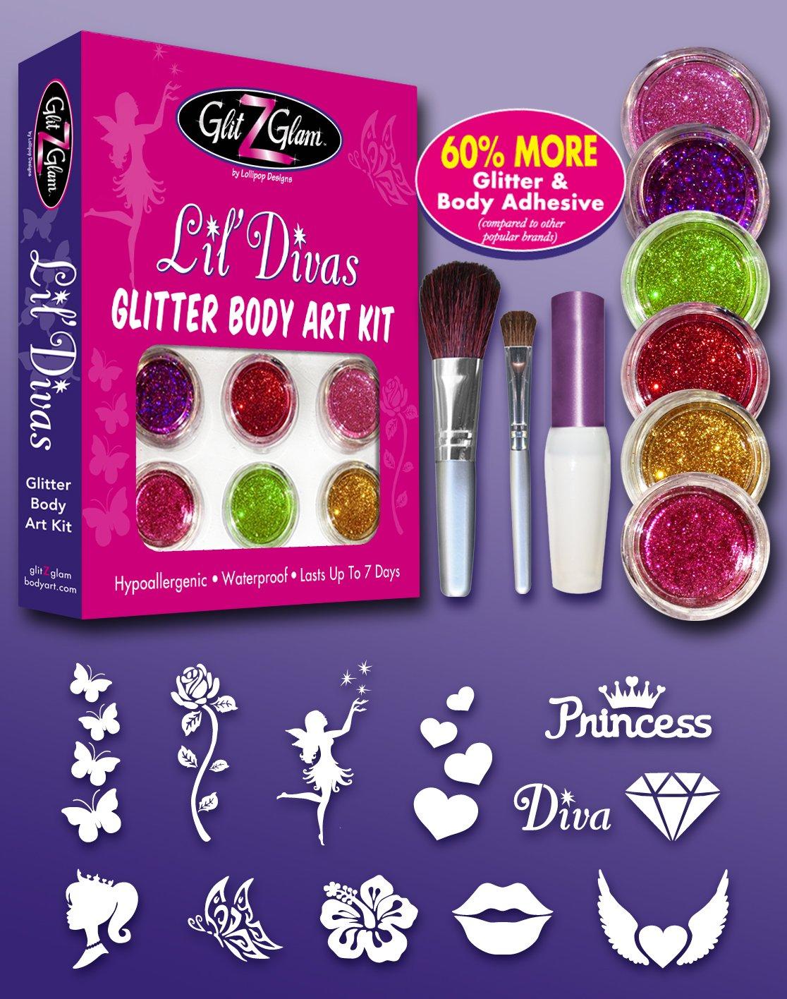 Kit de tatuajes con brillantina: Lil Divas con 6 brillantinas grandes y 12 plantillas para tatuajes temporales reutilizables GlitZGlam