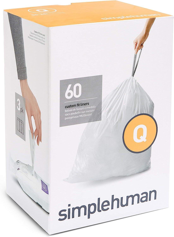simplehuman, 3 x paquete de 20 bolsas de basura a medida (60 bolsas), código Q, plástico blanco