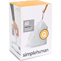 simplehuman Code Q Custom Fit Liners, Extra Large, Extra Strong Trash Bags, 50-65 Liter / 13-17 Gallon, 3 Refill Packs (60 Count)