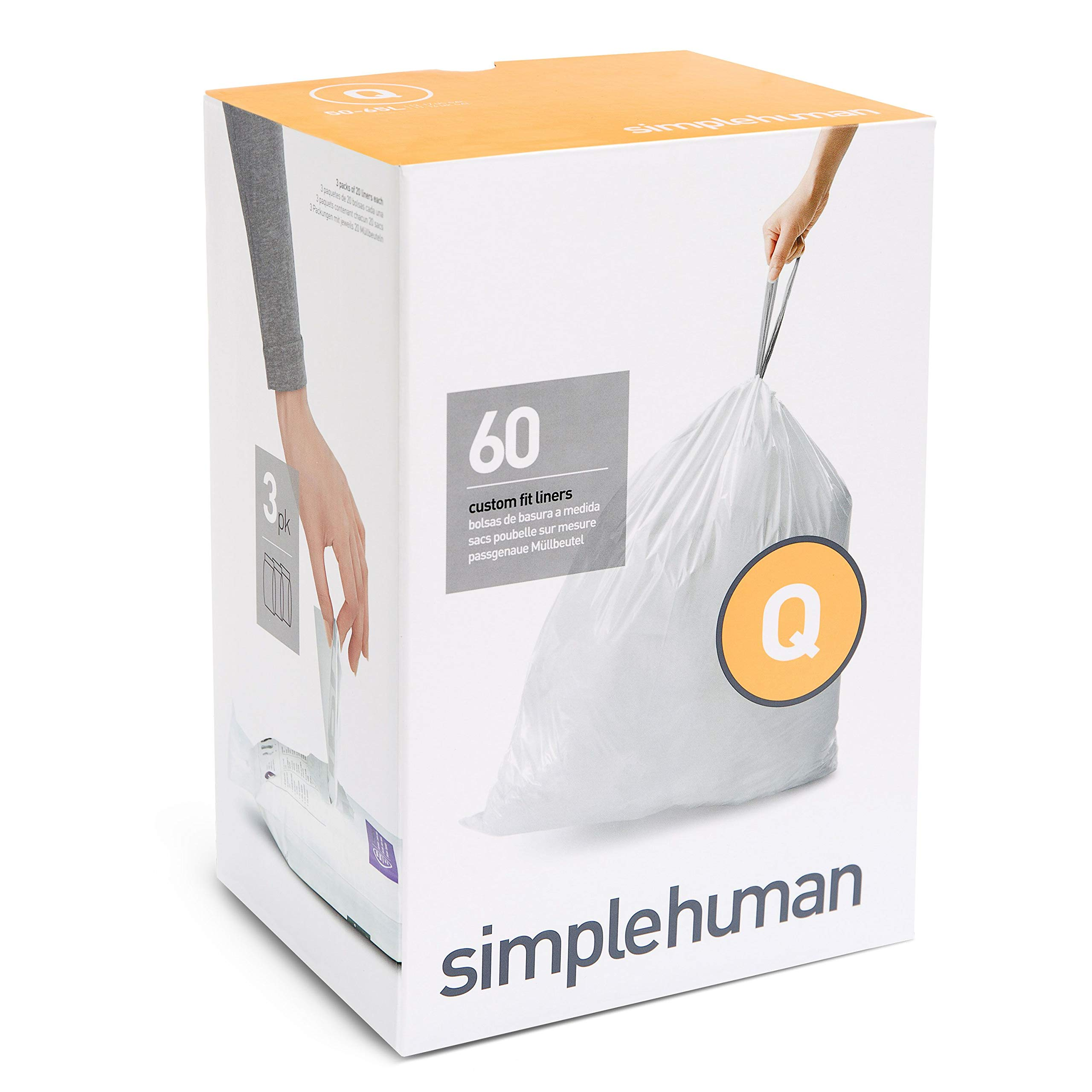 simplehuman Code Q Custom Fit Trash Can Liner, 3 refill packs (60 Count), 50-65 Liter / 13-17 Gallon by simplehuman