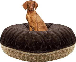 product image for BESSIE AND BARNIE Signature Camel Rose/Godiva Brown Extra Plush Faux Fur Bagel Pet/Dog Bed (Multiple Sizes)