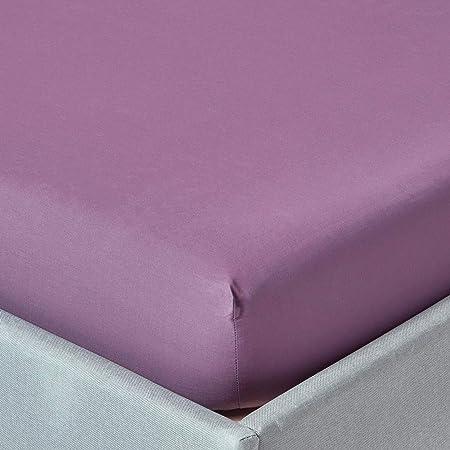 Tradition des Vosges Drap-Housse Uni Coton 80 x 190 cm Bonnet de 27 cm Rose Lavande