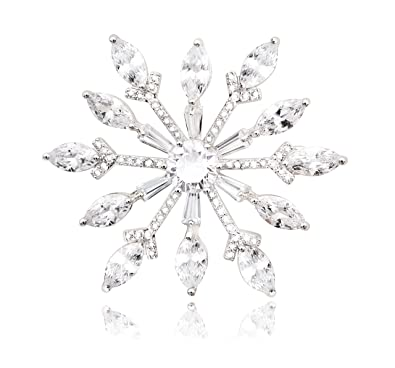 72a3a35d248 KristLand - Elegant Luxury Snowflakes Sun Flower Sparkle Cubic Zirconia  Women Weddings Brooch Pin Necklacle Pendant