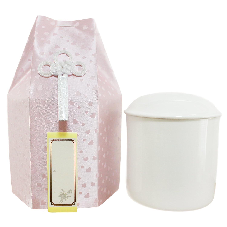 ペット仏具 骨壷 ハート柄 こころ 覆い袋つき ろうそく8本入り Cセット (6寸, ピンク) B079FL1K3C 6寸 ピンク ピンク 6寸